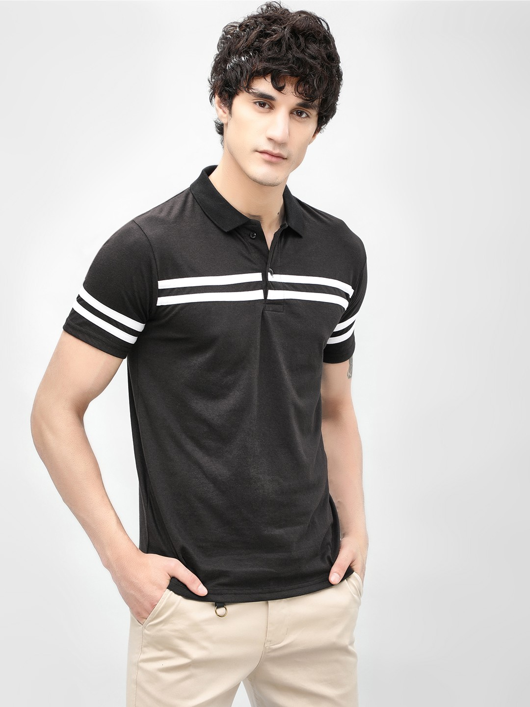 Blotch Black Panel Stripes Polo Shirt 1