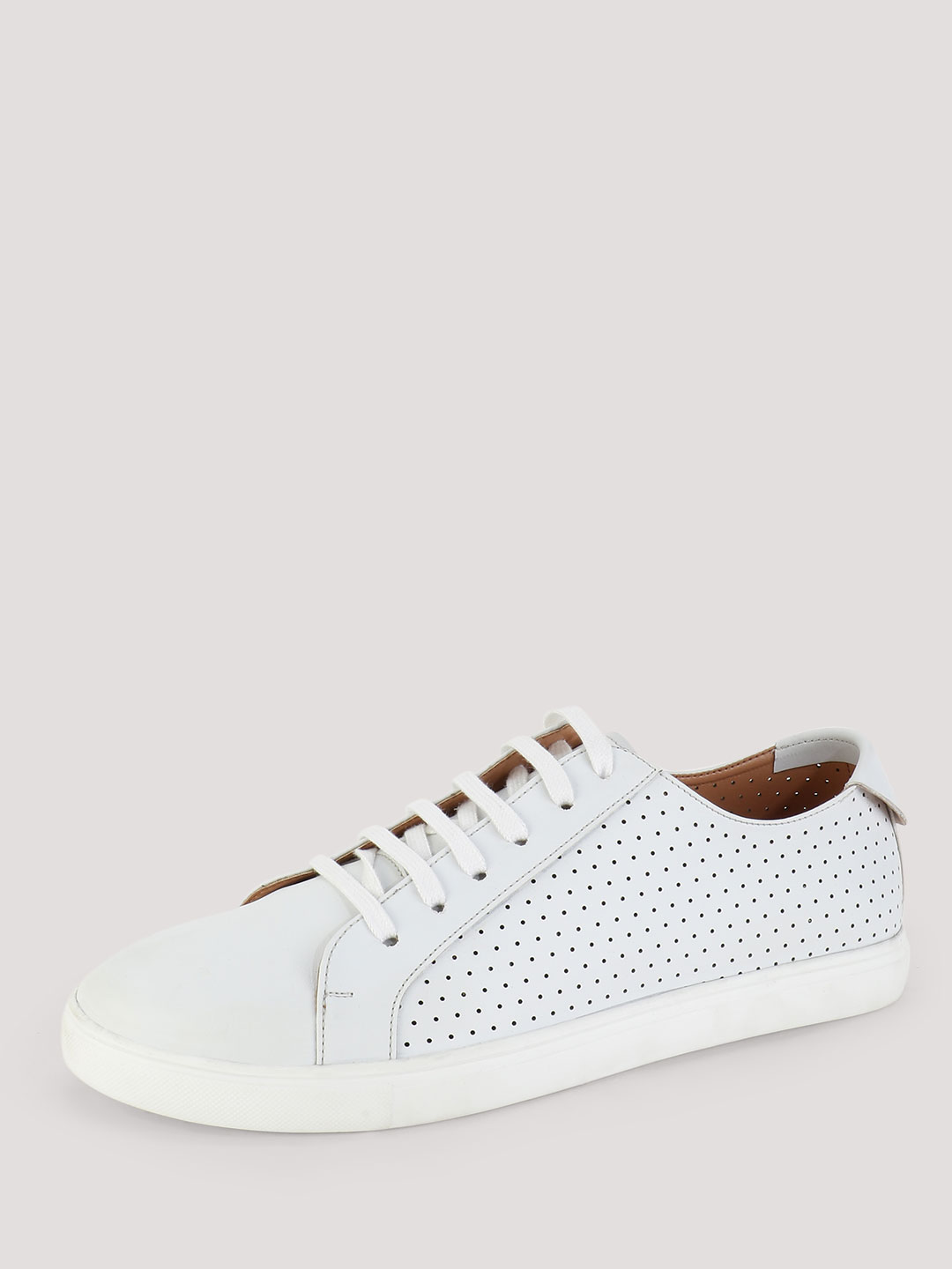 Griffin White Shoe with Perforated Side Panels 1