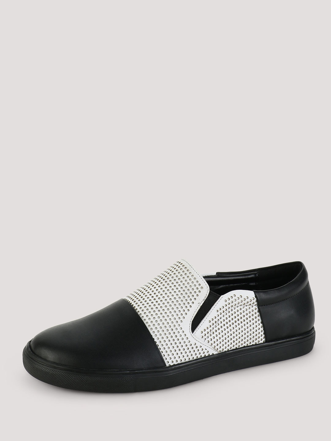 Griffin Black/White Slip-ons with Perforated Upper 1