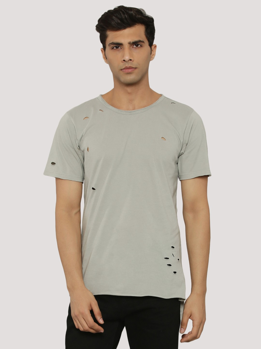 Adamo London MID GREY Ripped T-Shirt With Raw Edges 1