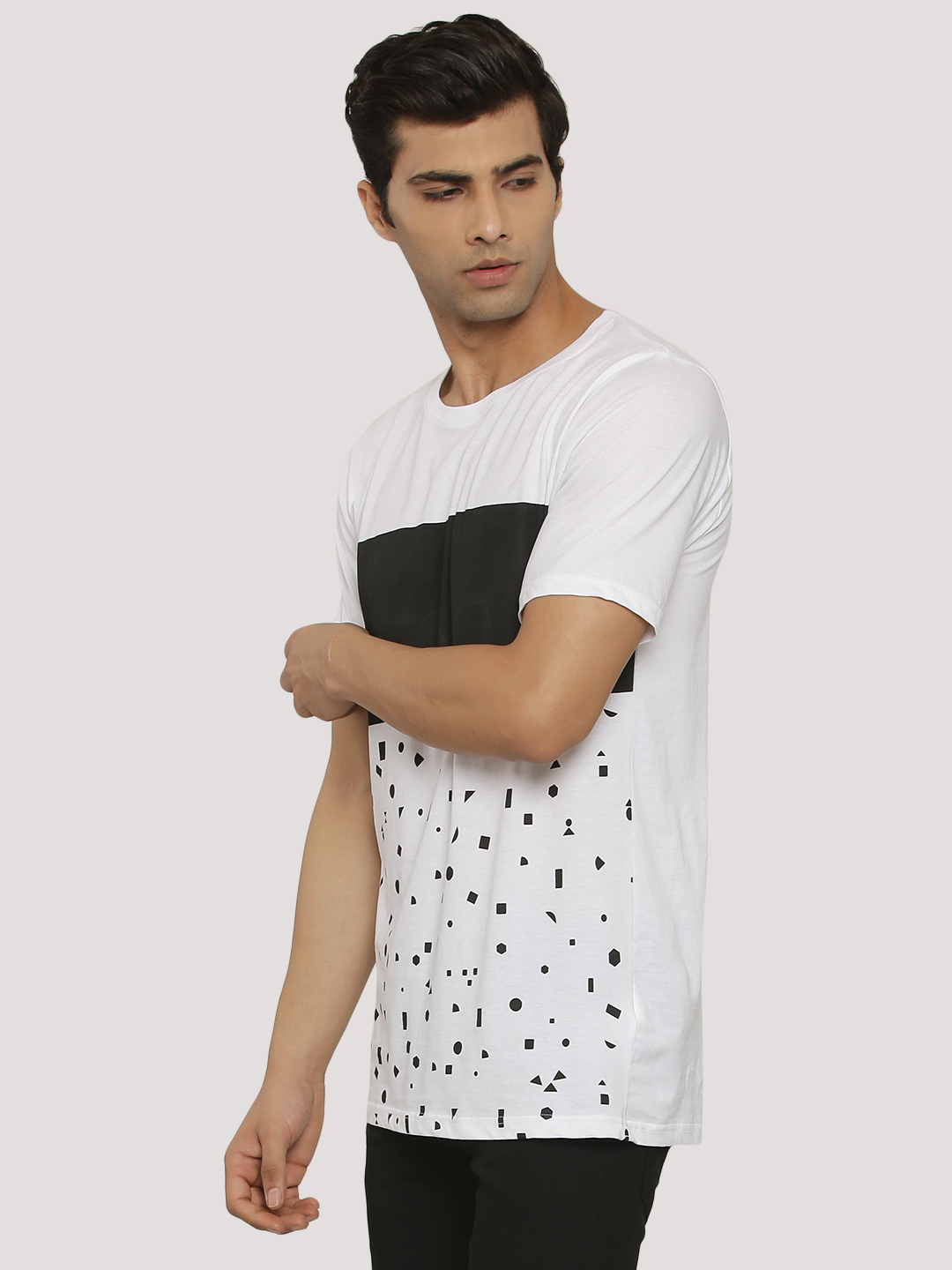 Adamo London White Contrast Panel Geometric Print T-Shirt 1