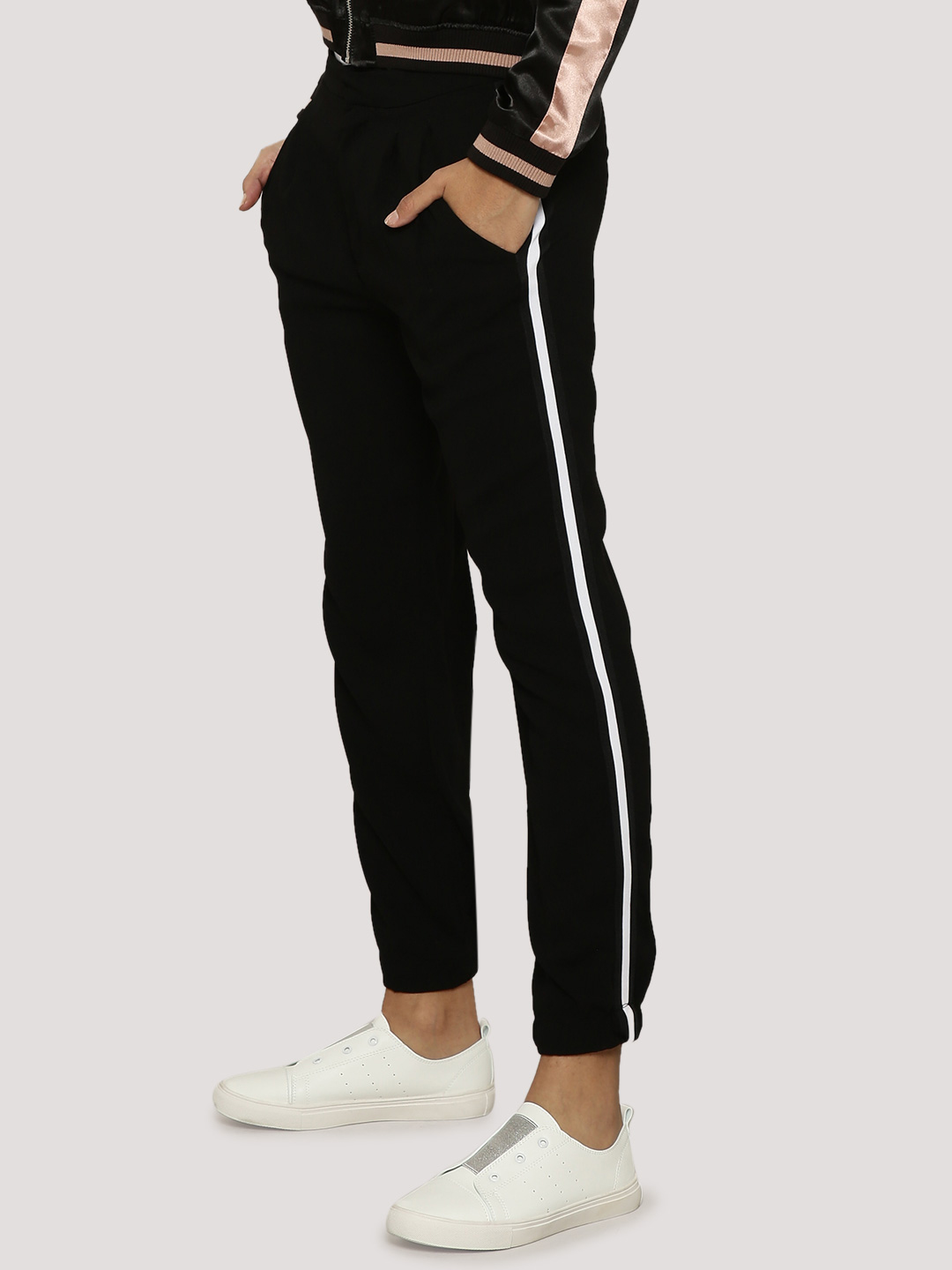 Evah London Black Sporty Trouser With Side Tape 1