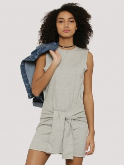 Evah London Sweat Dress With Front Tie Up