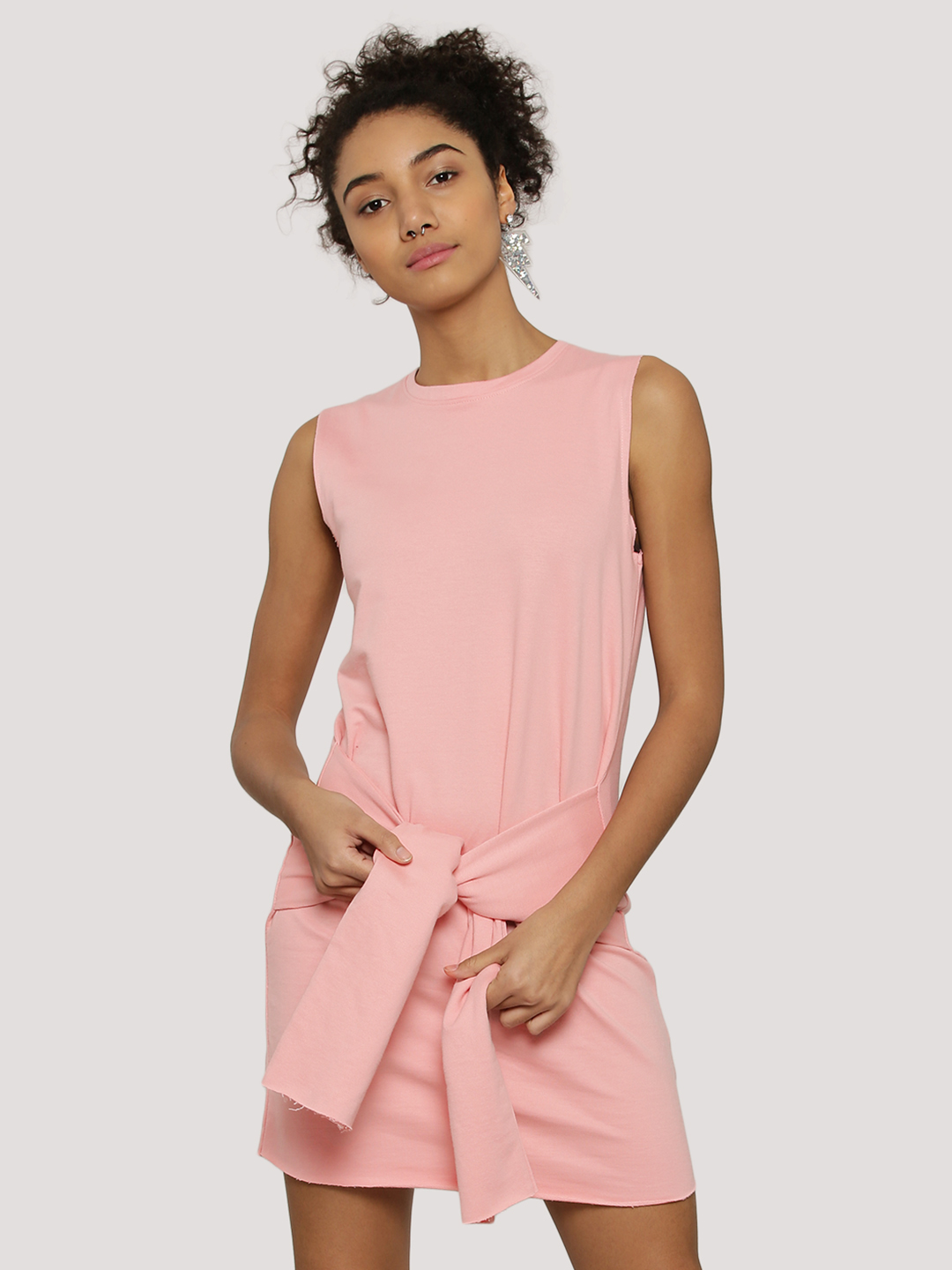 Evah London Salmon Pink Sweat Dress With Front Tie Up 1