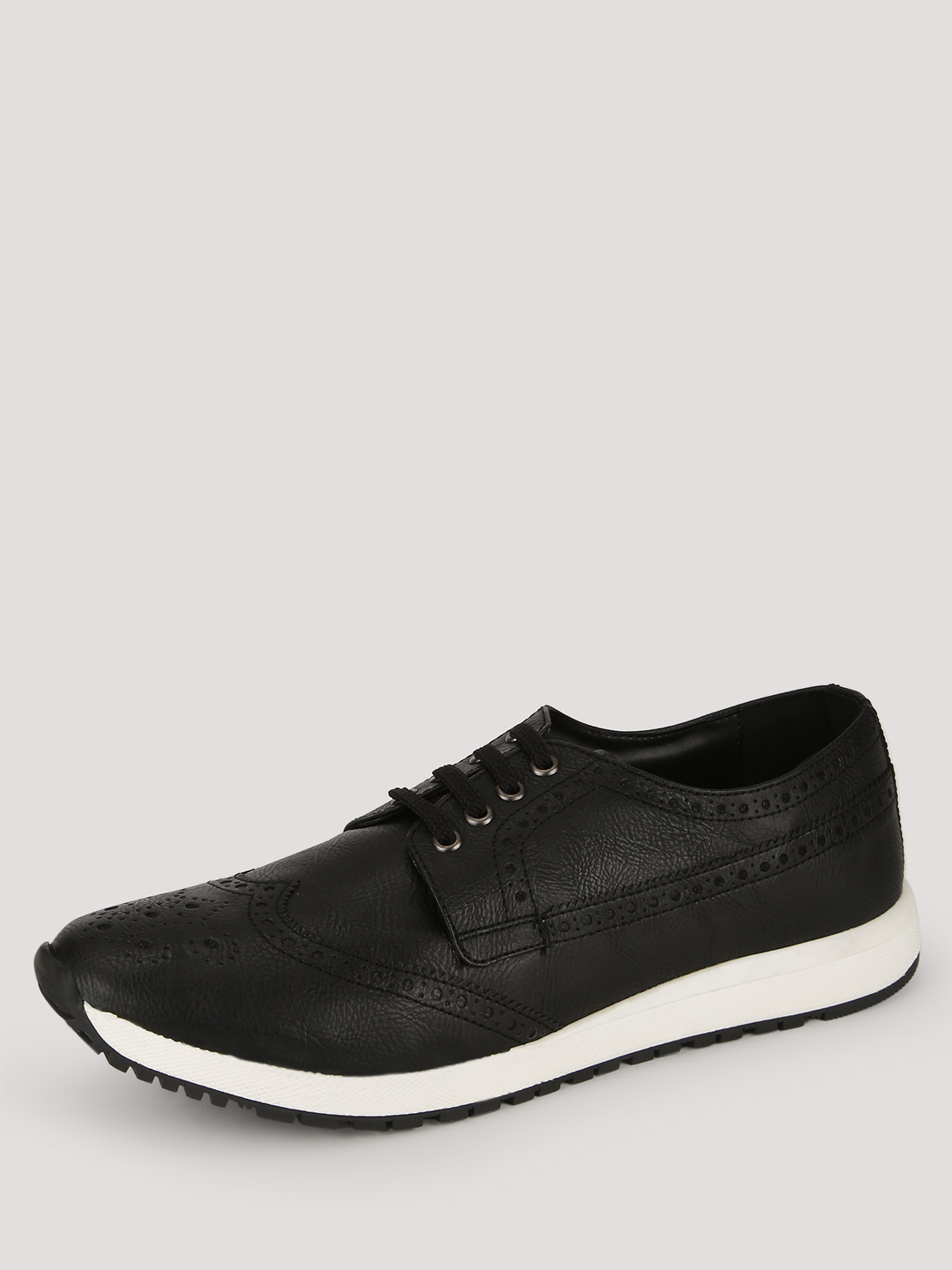 Knotty Derby Black Wing Cap Brogue Trainers 1
