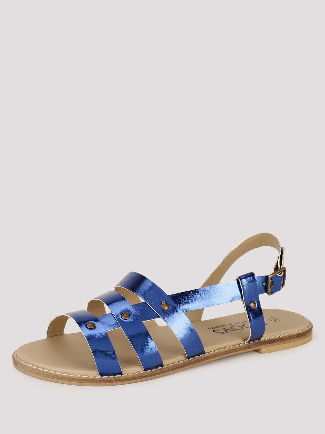 KOOVS METALIC Side Riveted Flat Sandals 1
