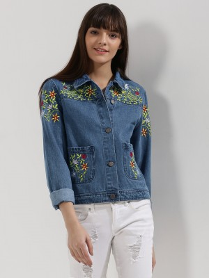 KOOVS Floral Embroidered Denim...