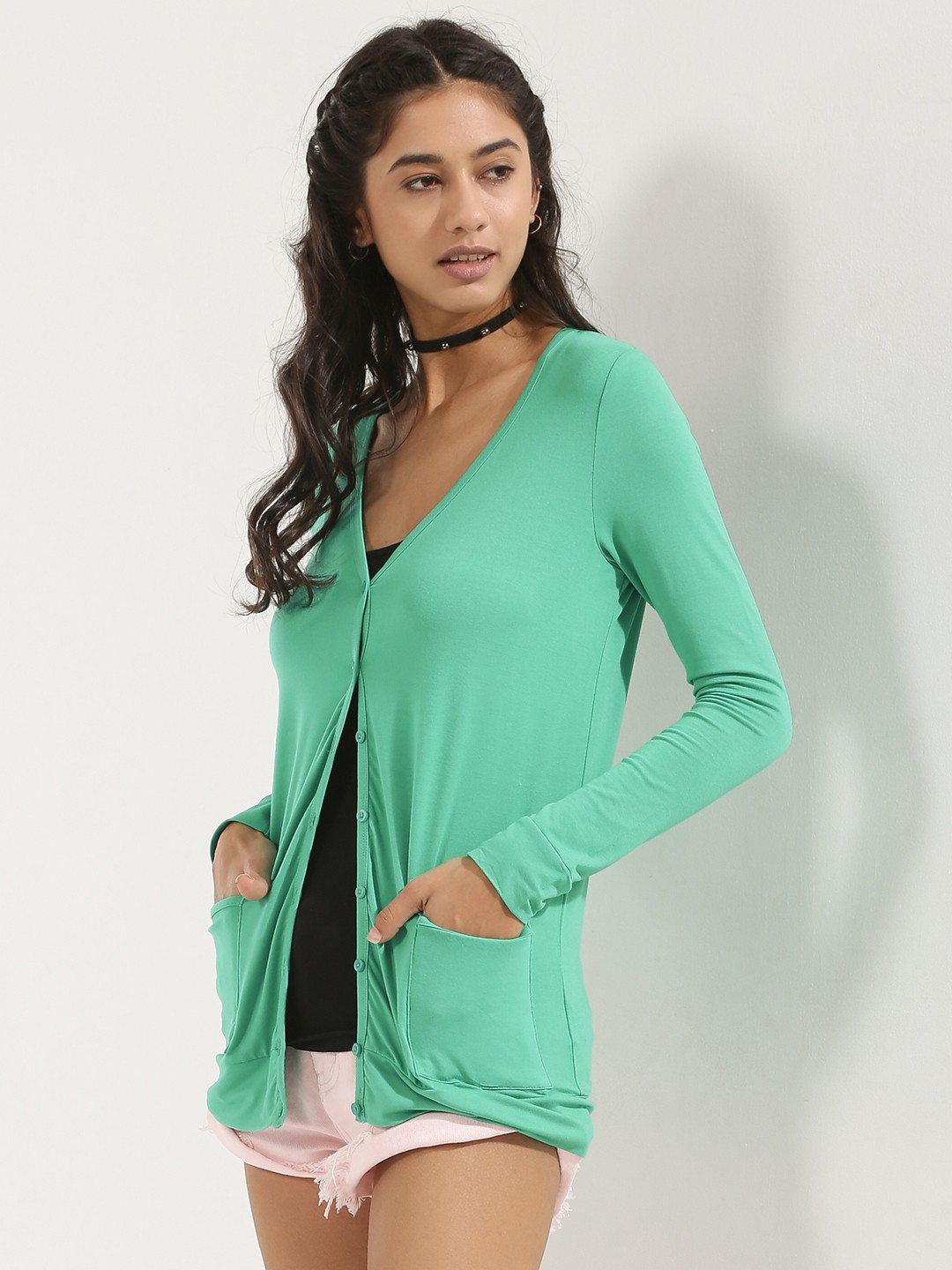 KOOVS Green Button Through Longline Cover Up 1