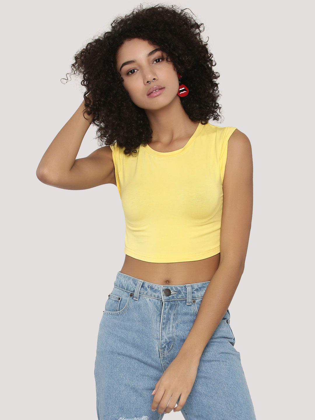 KOOVS Yellow Twisted Cuff Boxy Crop Top 1