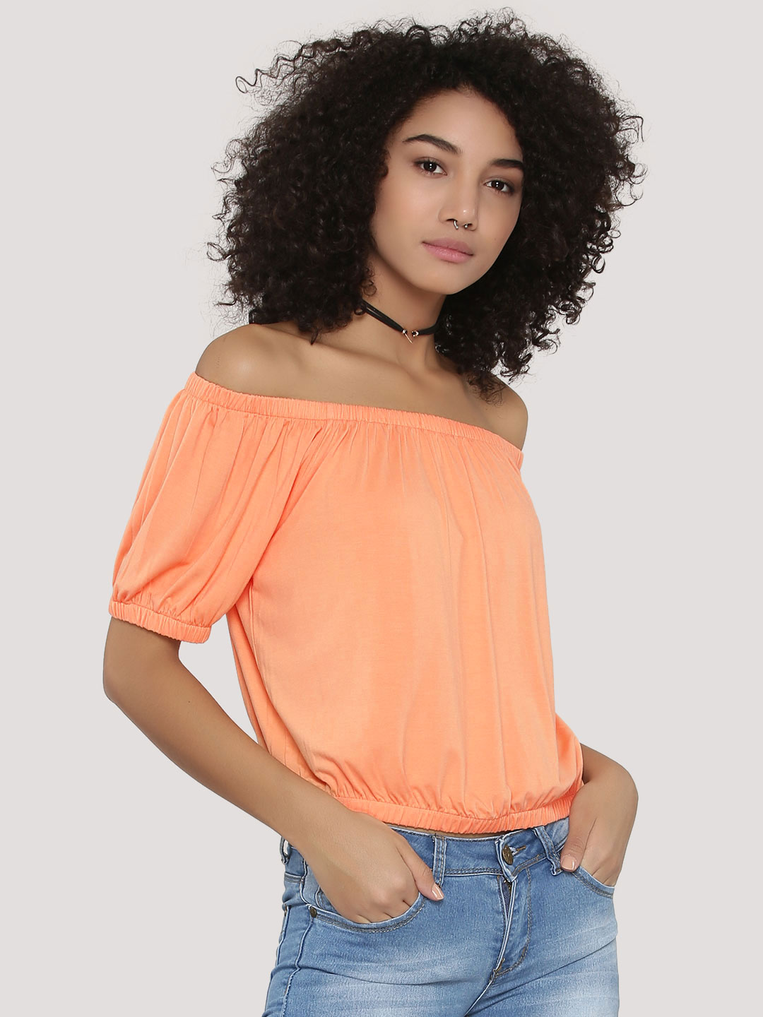 KOOVS Orange Elasticated Off Shoulder Top 1