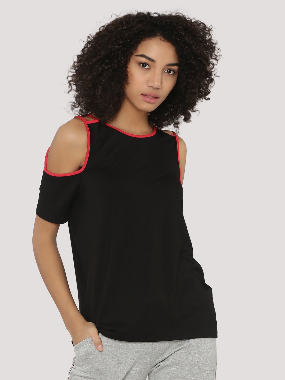 KOOVS Black Cold Shoulder Cage Strap Top 1
