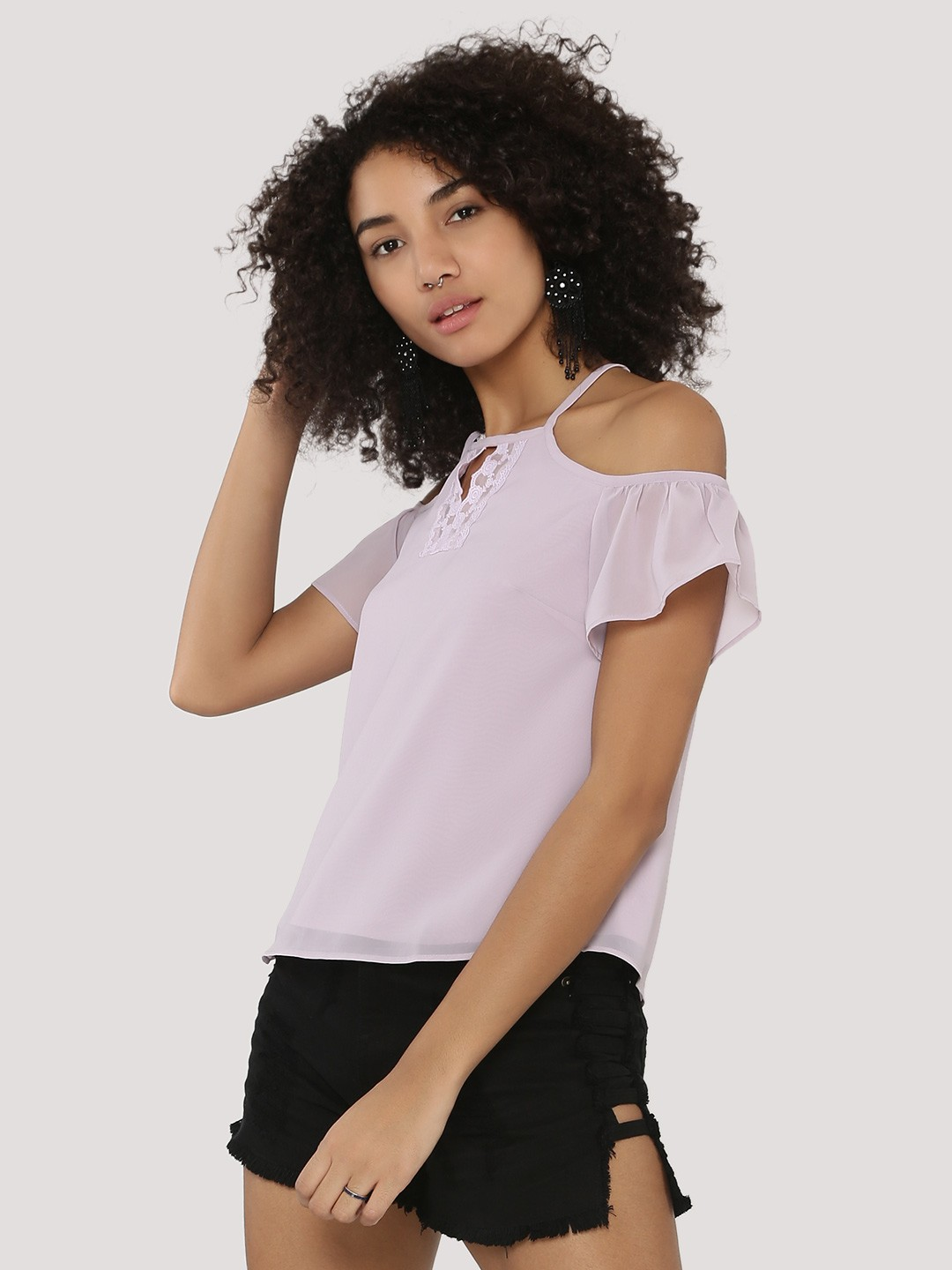 KOOVS Purple Lace Keyhole Cold Shoulder Top 1