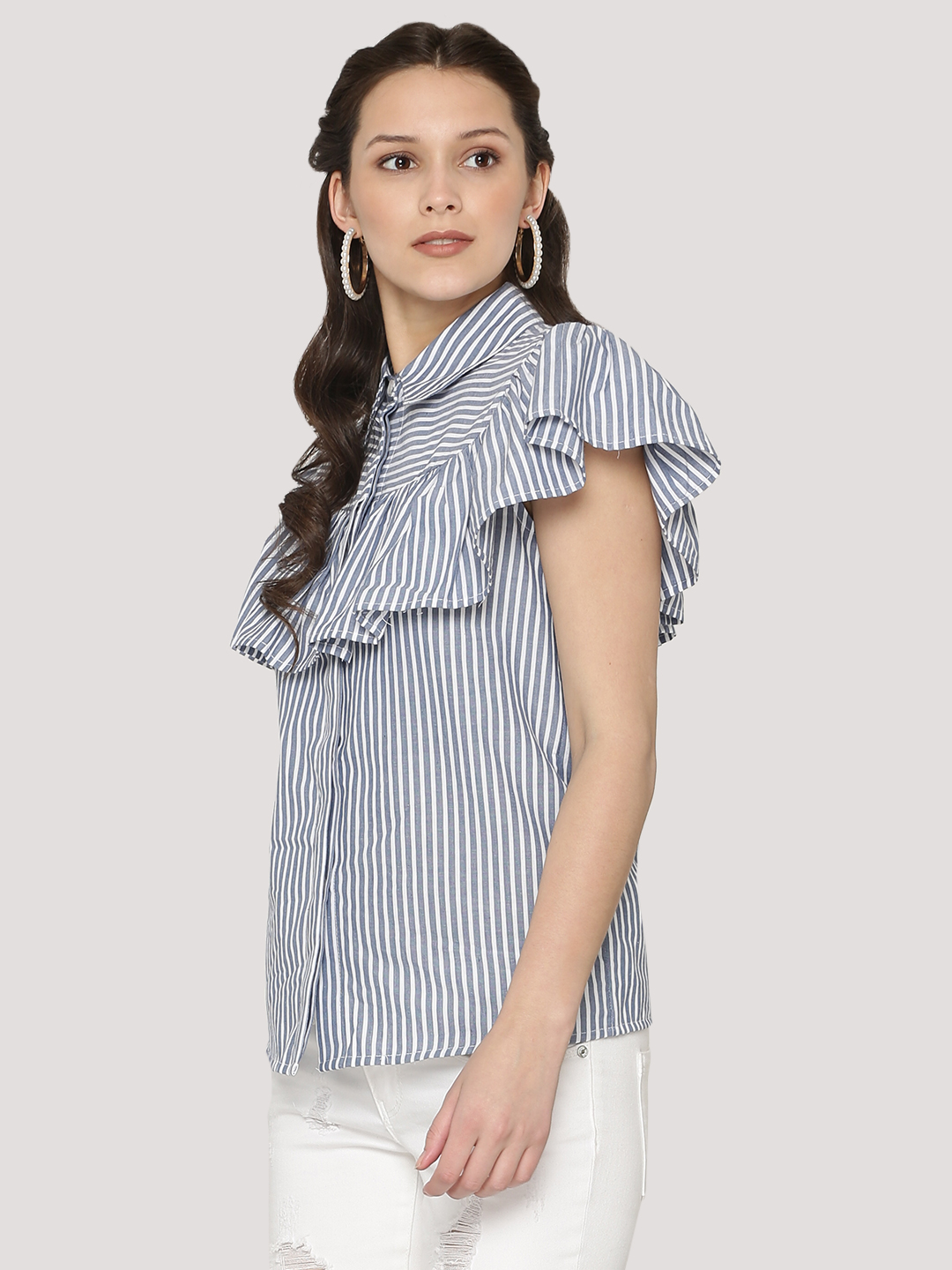 KOOVS Striped Frill Yoke Shirt...