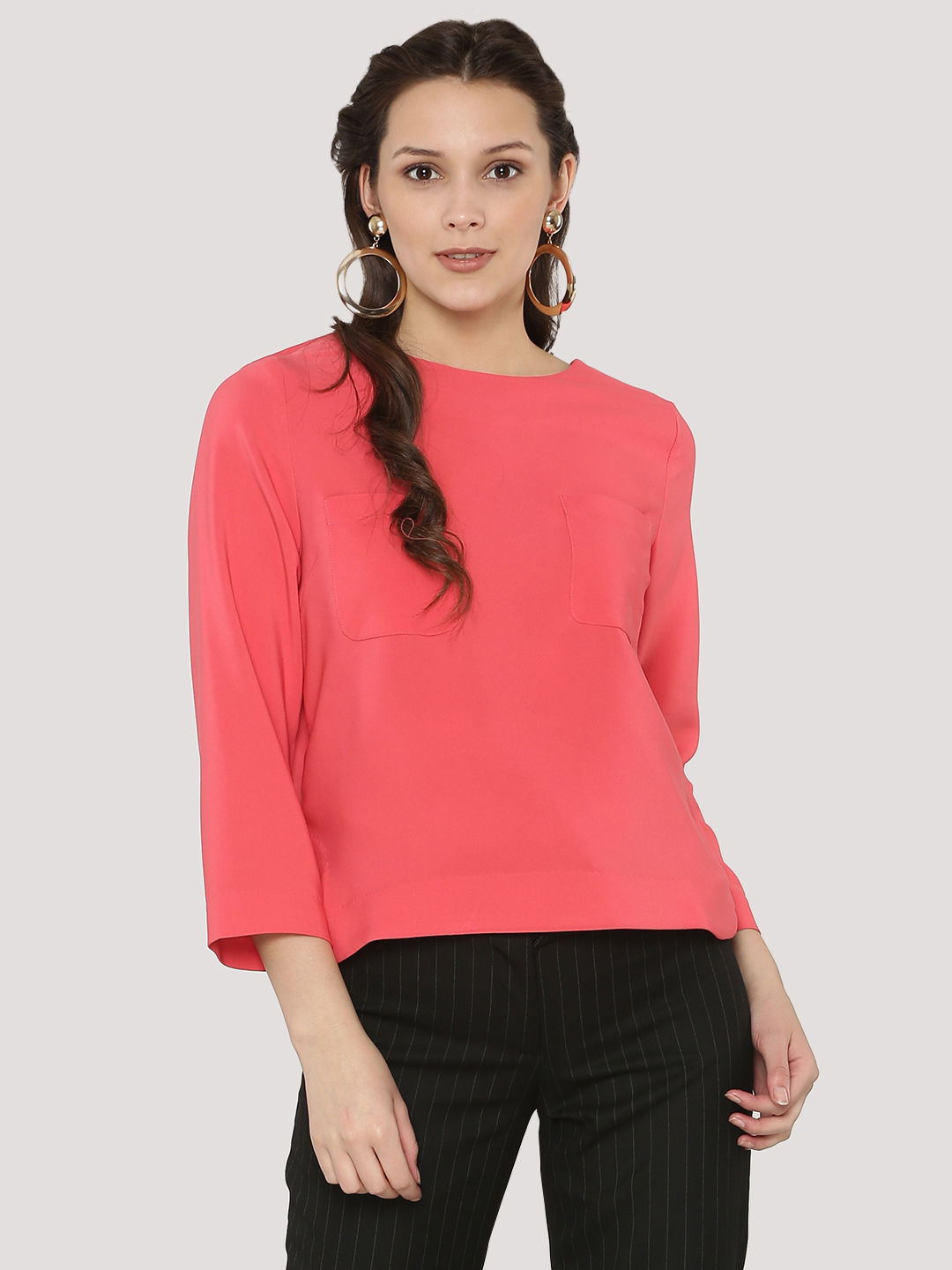 KOOVS Pink Double Pocket Clean Finish Boxy Top 1