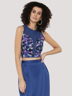KOOVS Printed & Mesh Mix Crop Top