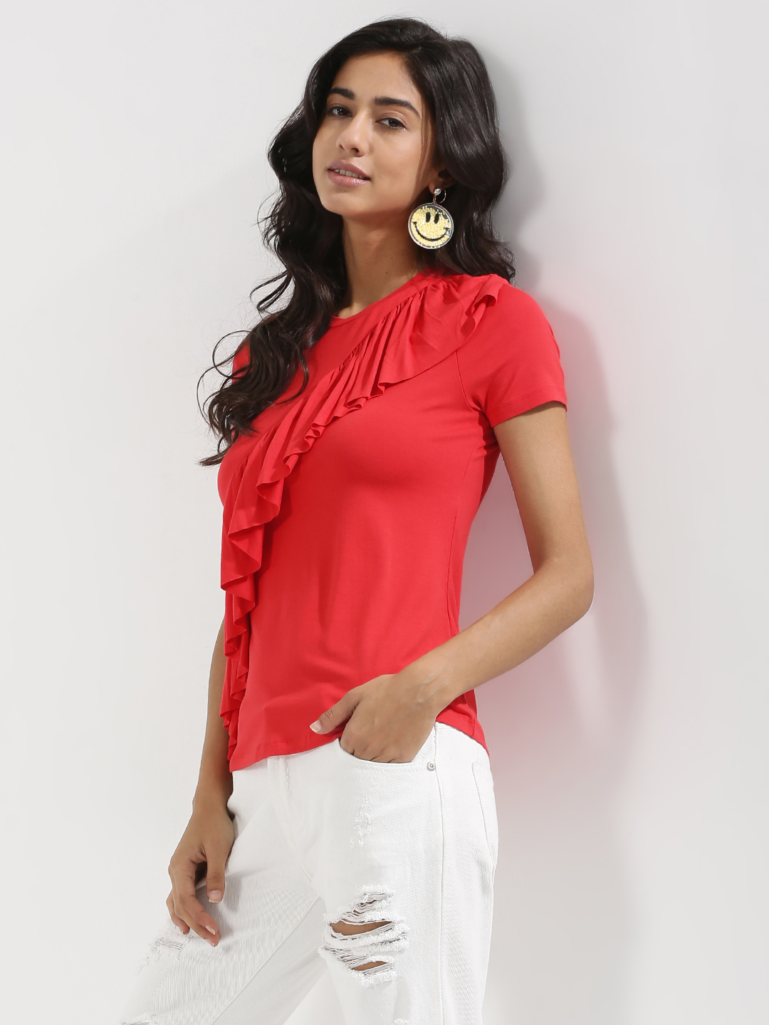 KOOVS Red Ruffle Front Top 1