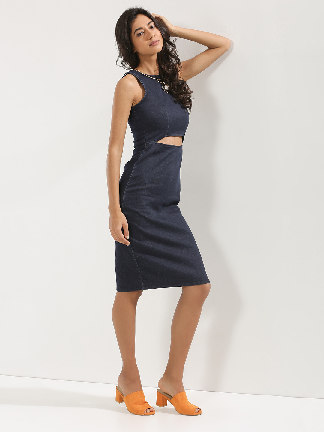 KOOVS Blue Cut Out Waist Bodycon Dress 1
