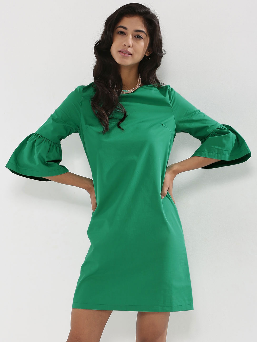 KOOVS Green Volume Sleeve Shift Dress 1