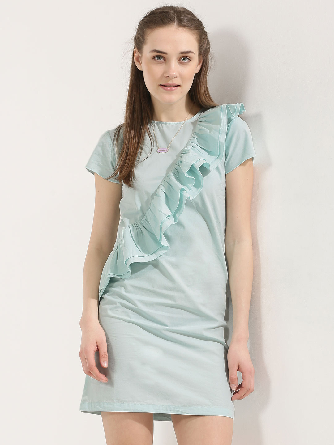 KOOVS Blue Ruffle Front Shift Dress 1