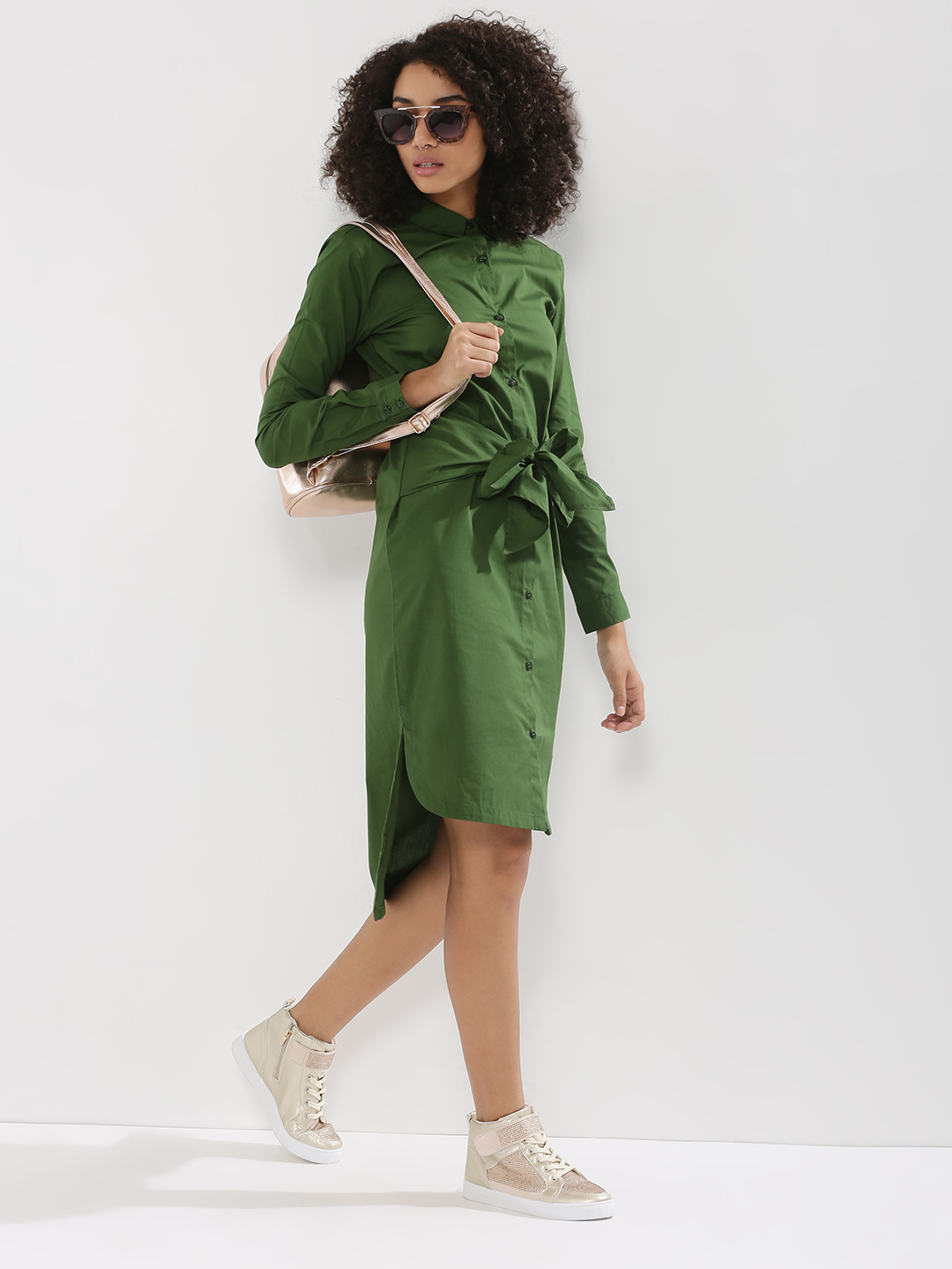 KOOVS Green Tie Waist Shirt Dress 1