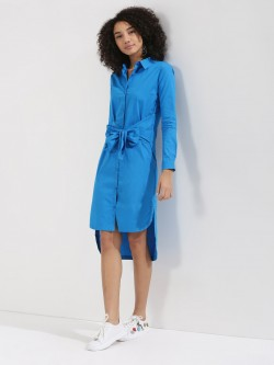 KOOVS Tie Waist Shirt Dress