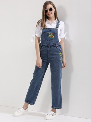 KOOVS Embroidered Denim Dungar...