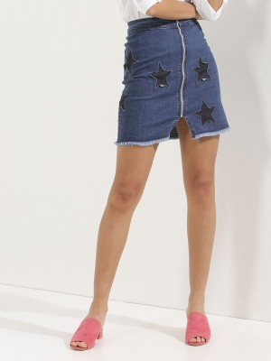 KOOVS Star Applique Mini Skirt...
