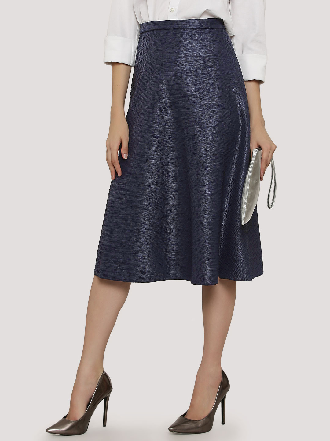 Ax Paris Metallic Midi Skirt...