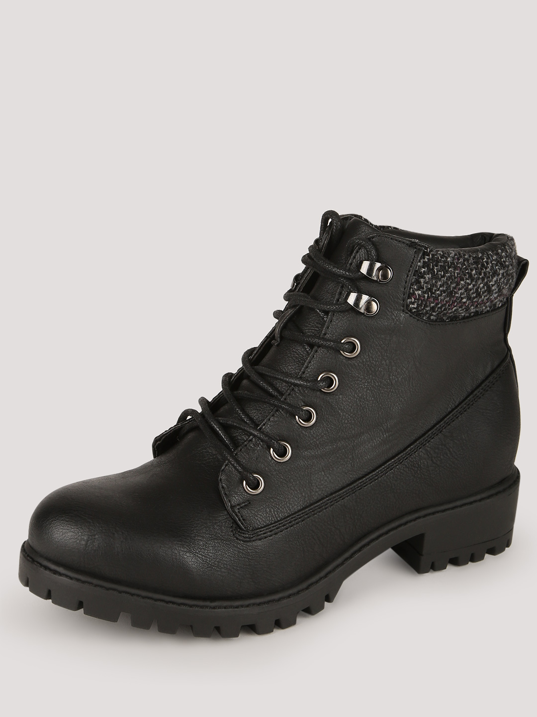 New Look Black Cuff Lace Up Boots 1