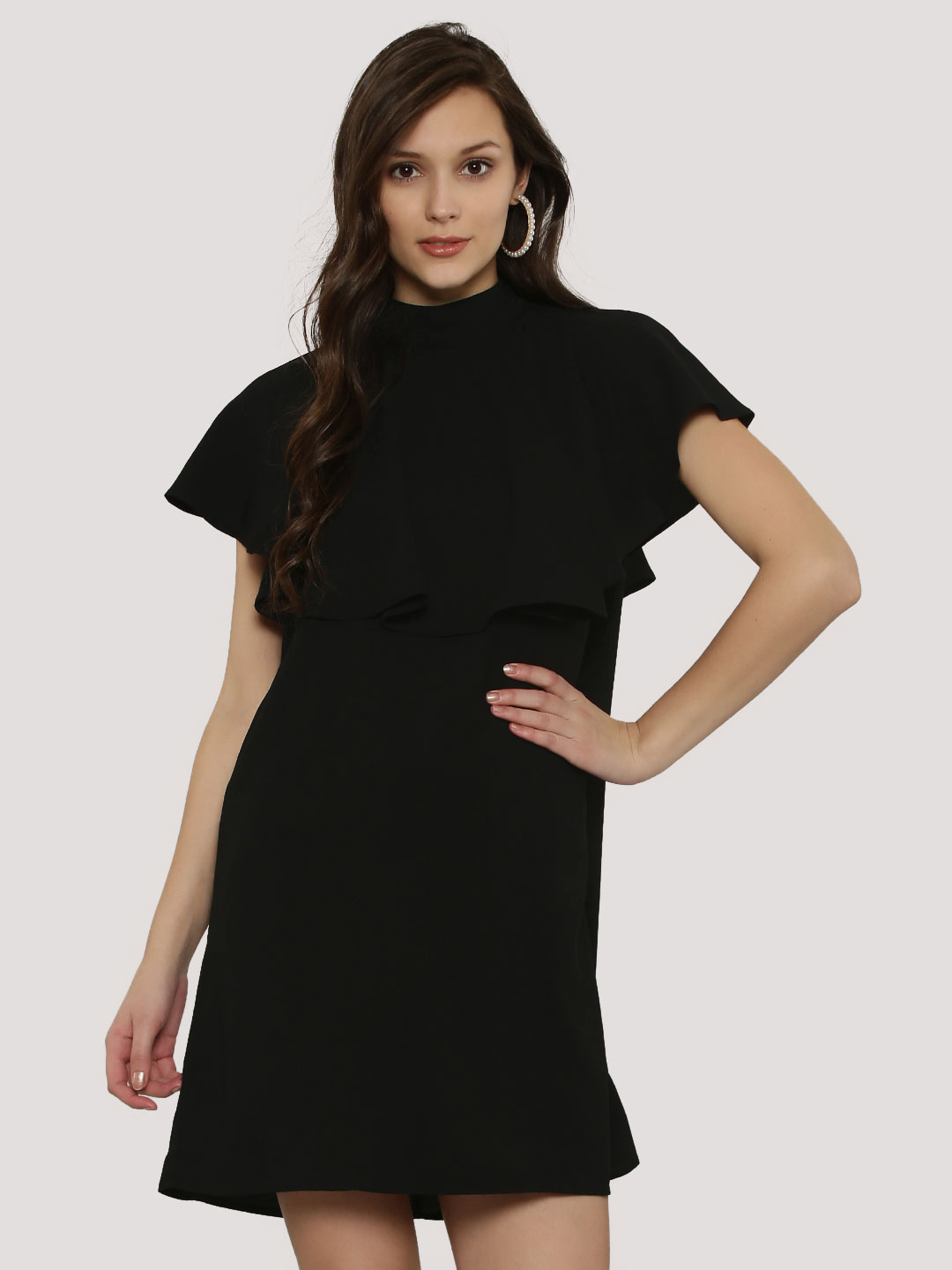 Femella Black High Neck Ruffle Dress 1