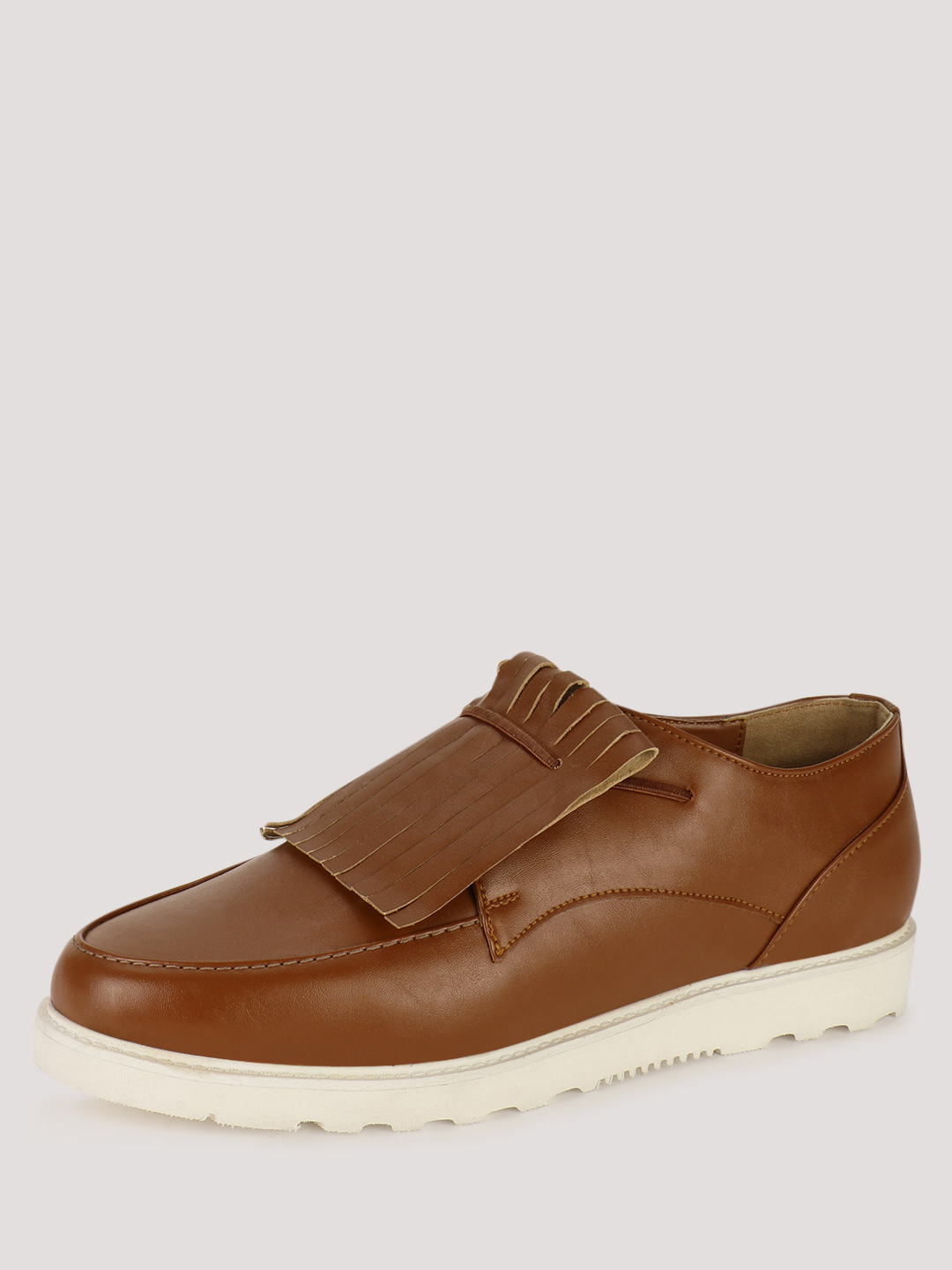 KOOVS Brown Sports Sole Kiltie Detail Loafers 1