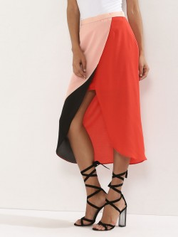 KOOVS Colour Block Knee Length Skirt