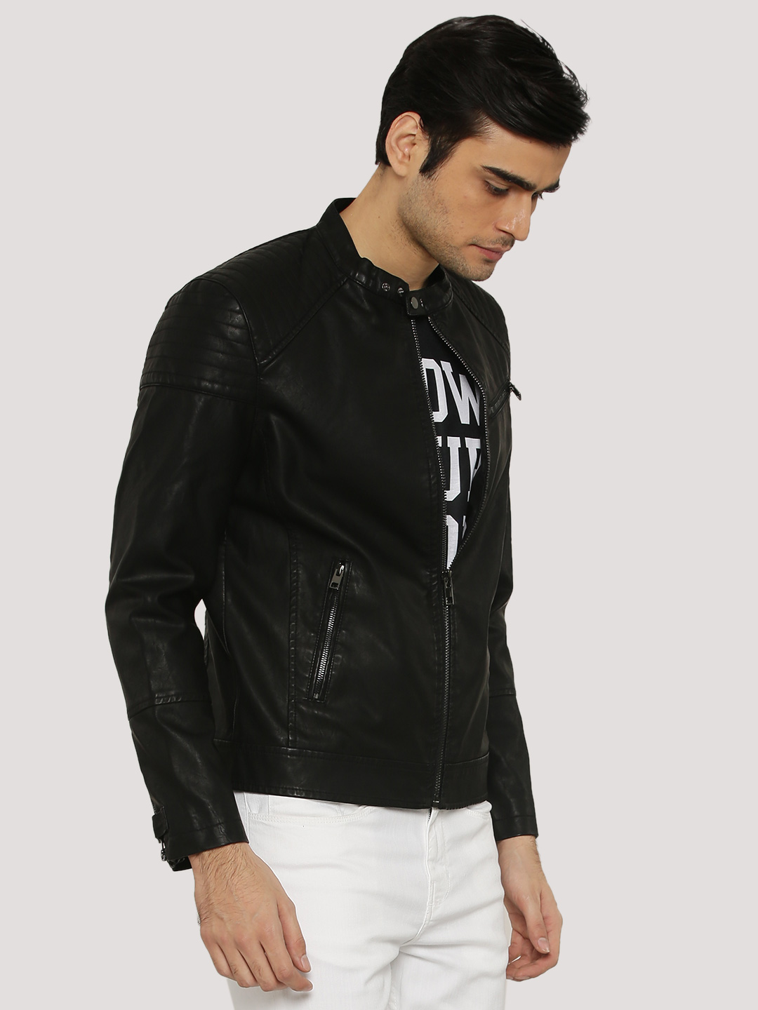 New Look Black PU Biker Jacket With Sleeve Quilting 1
