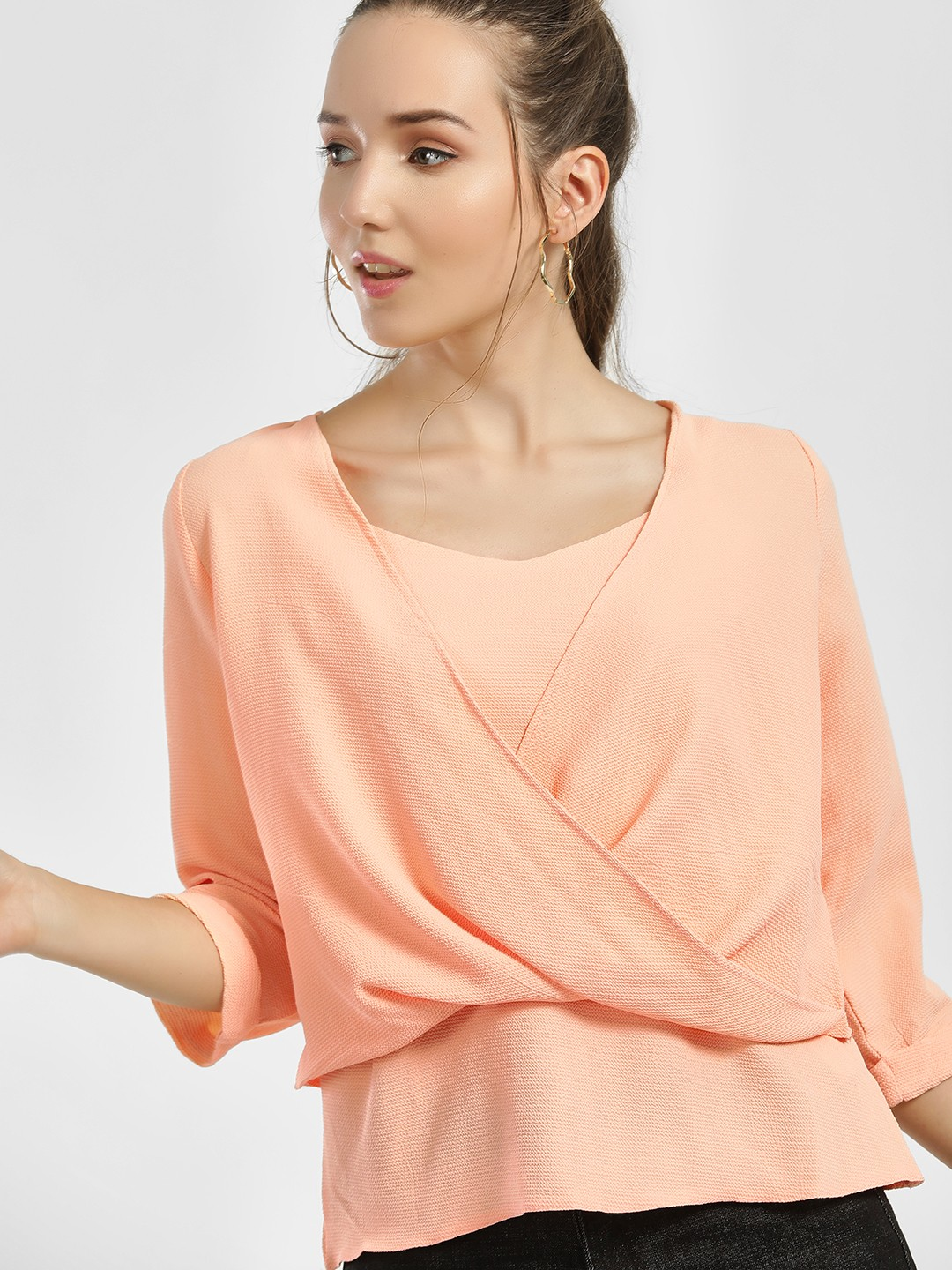 KOOVS Peach Textured & Double Layer Blouse 1
