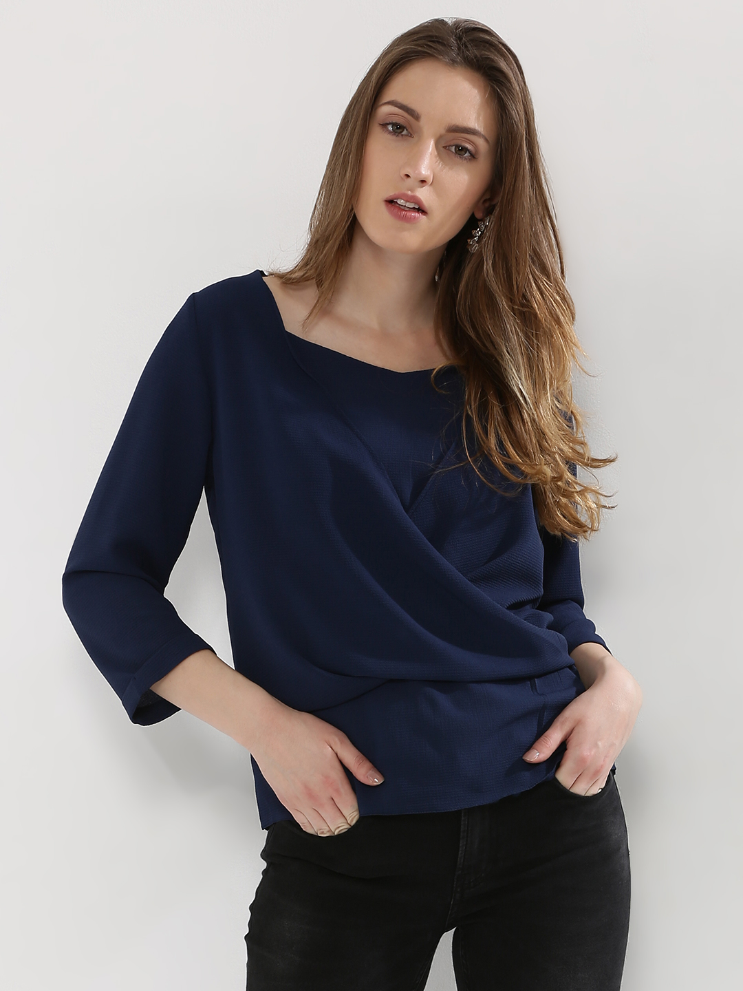 KOOVS Blue Textured & Double Layer Blouse 1