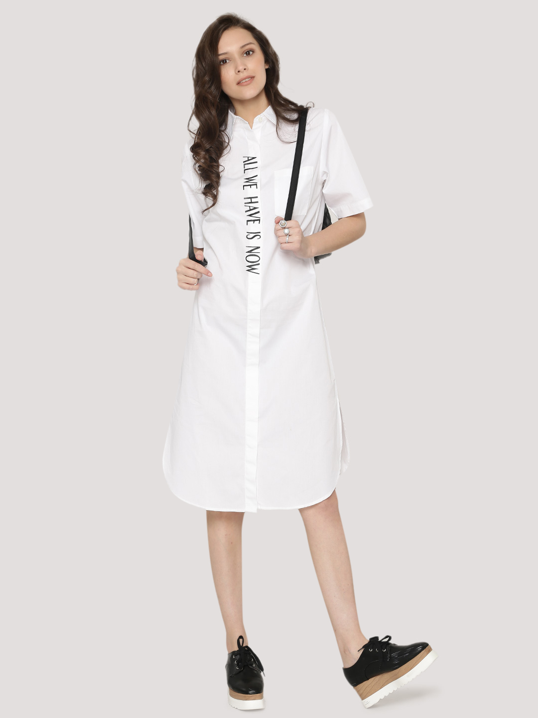 Spring Break White 'All We Have Is Now' Slogan Shirt Dress 1