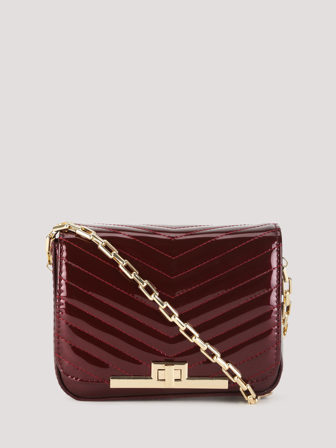 New Look Dark Burgundy Quilted Patent Sling Bag 1