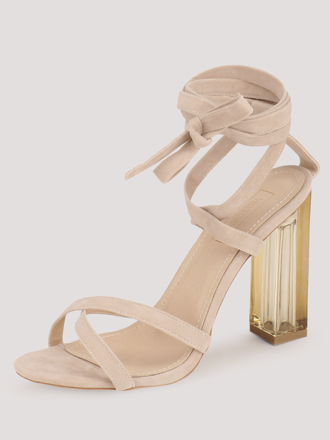Velvet Army Nude Perspex Tie Up High Heels 1