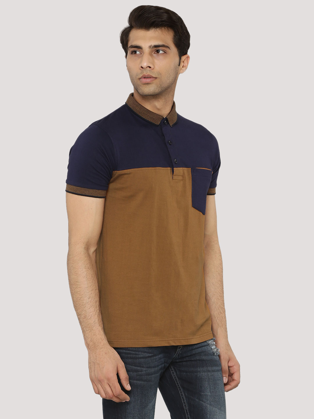Blotch Navy/Brown Colour Block Polo With Pocket 1
