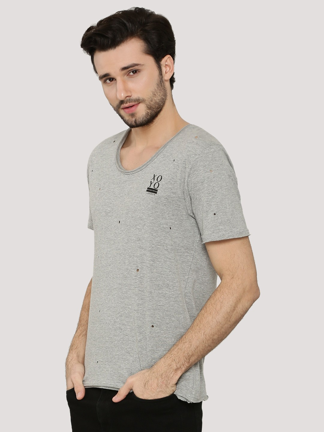 X.O.Y.O LT GREY Distressed Scoop Neck T-Shirt 1