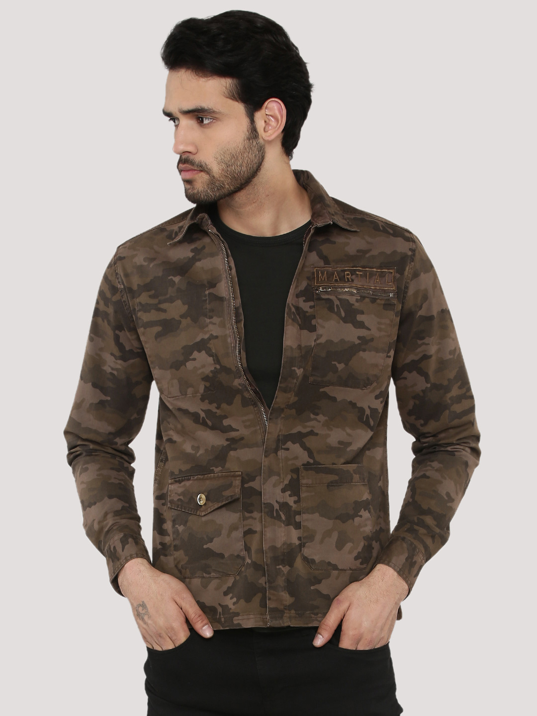 Adamo London Camo Shacket With...