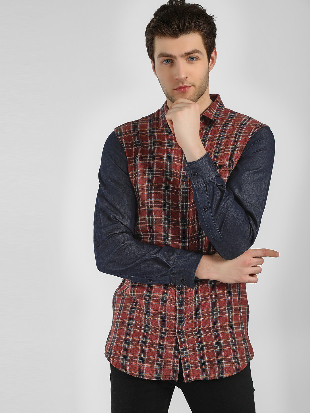 Adamo London Multi Check Denim Sleeve Longline Shirt 1