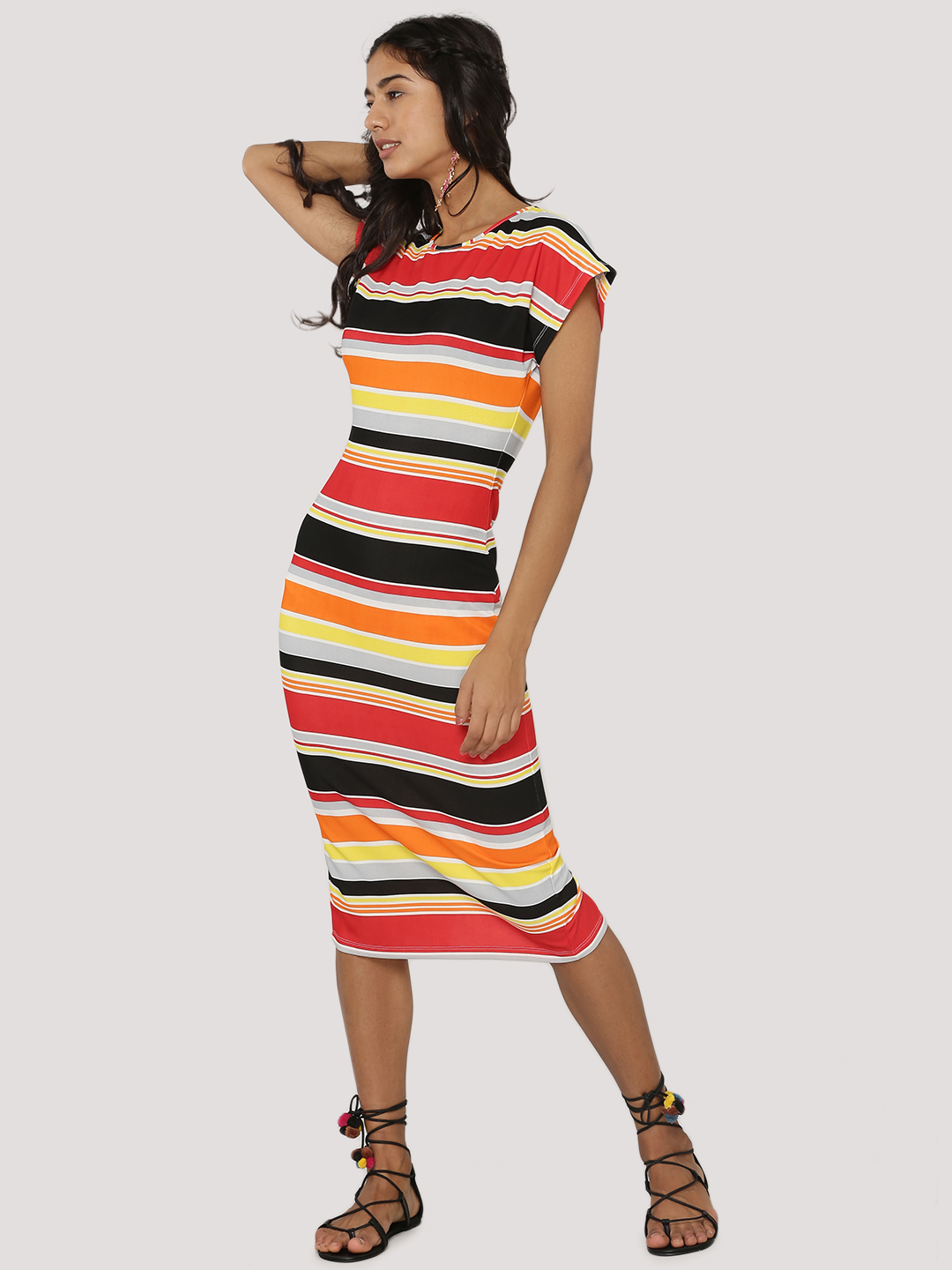KOOVS Multi Striped Midi Dress 1