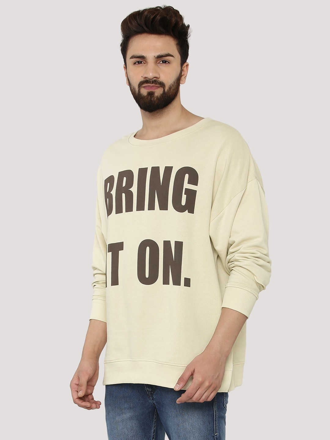 Adamo London Clay Slogan Print Boxy Sweatshirt 1