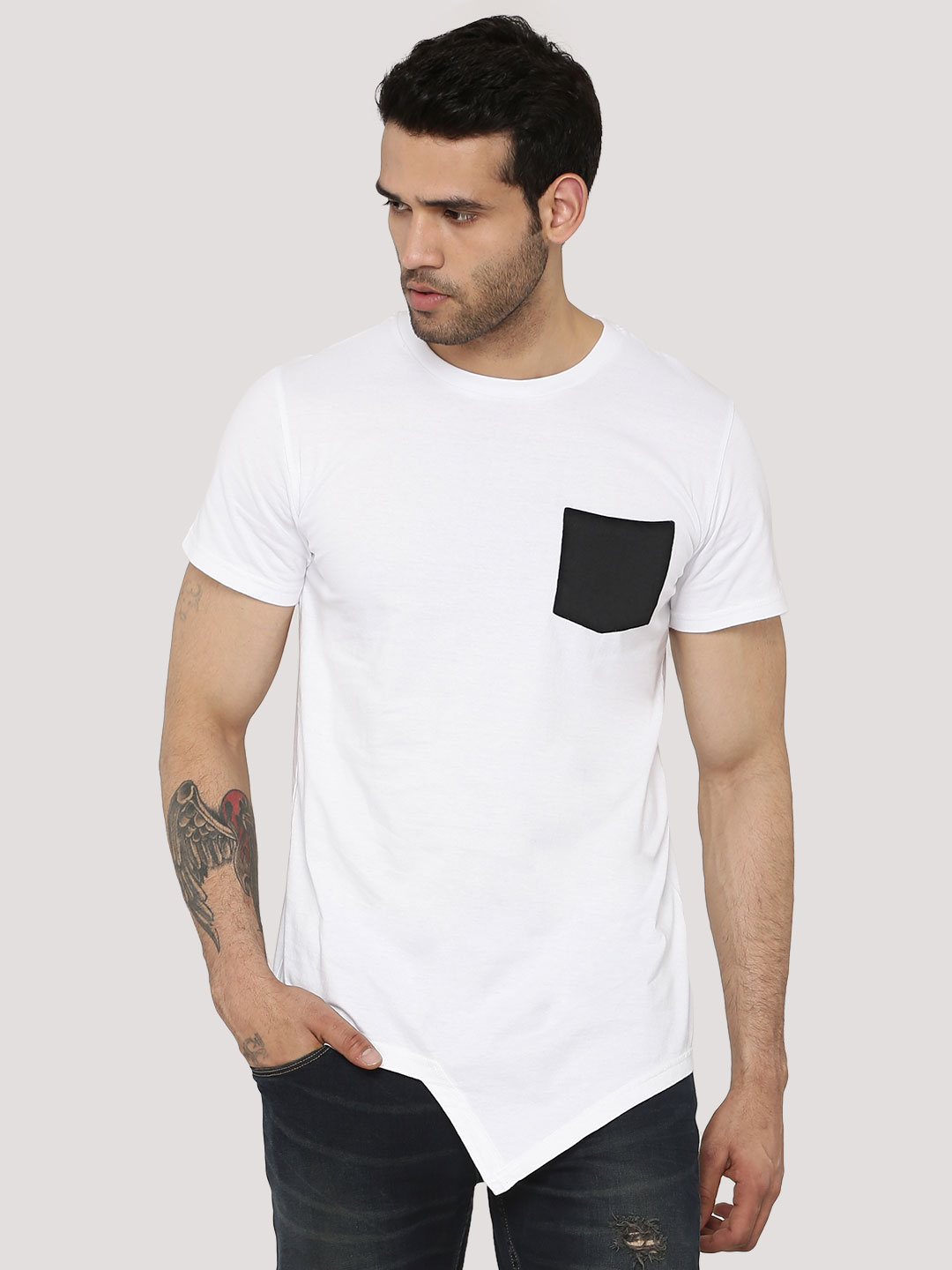Spring Break White Think Back Print T-Shirt With Patch Pocket 1