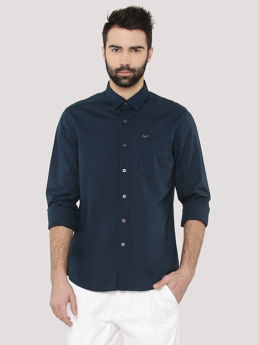 Flying Machine Navy Shirt With Pocket 1