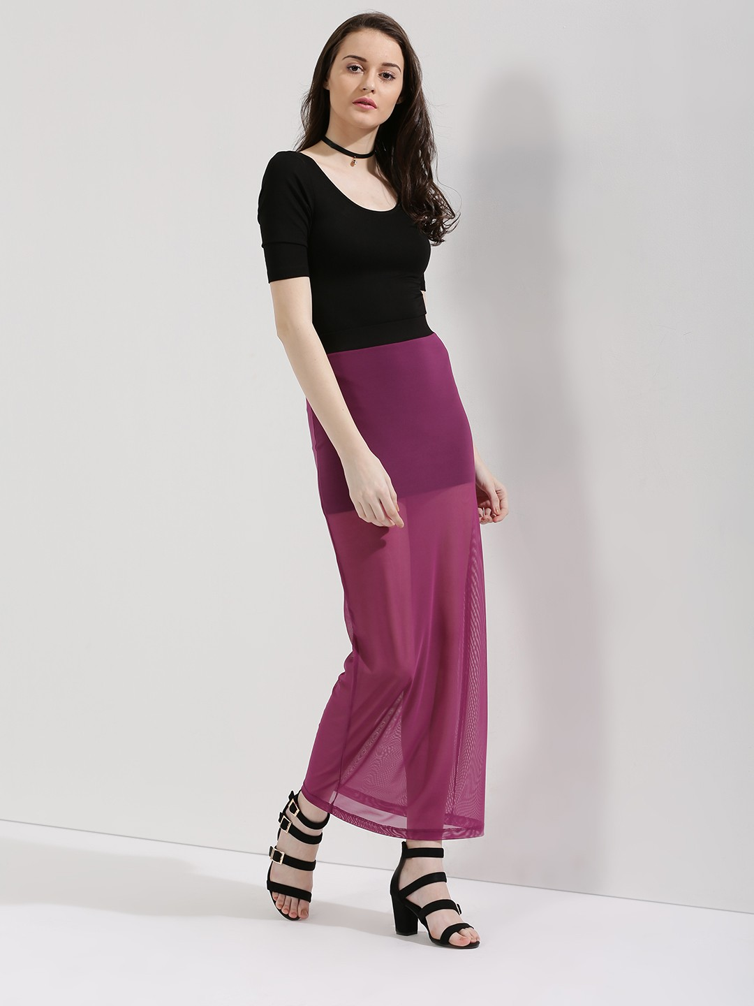 KOOVS Purple Mesh Maxi Skirt 1
