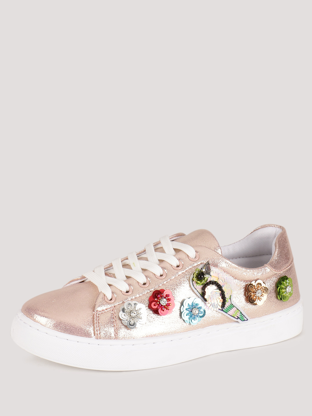 No Doubt Rose Gold Sequin Embellished Trainers 1