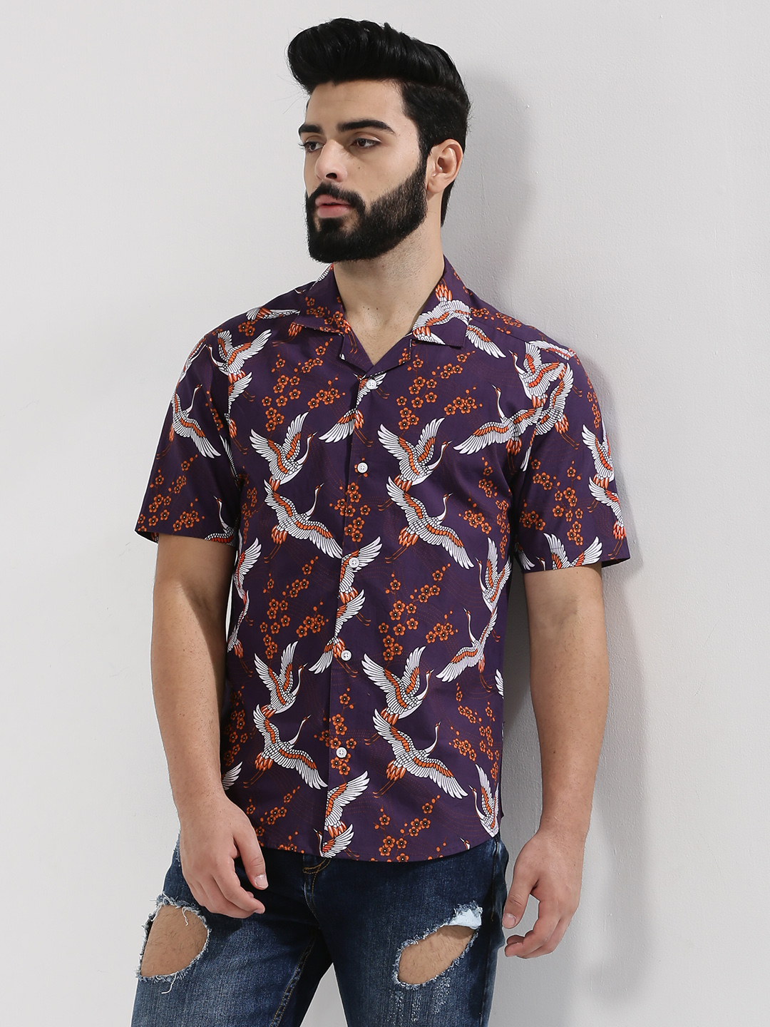 KOOVS Multi Oriental Bird Printed Shirt In The Style Of Adam Levine 1