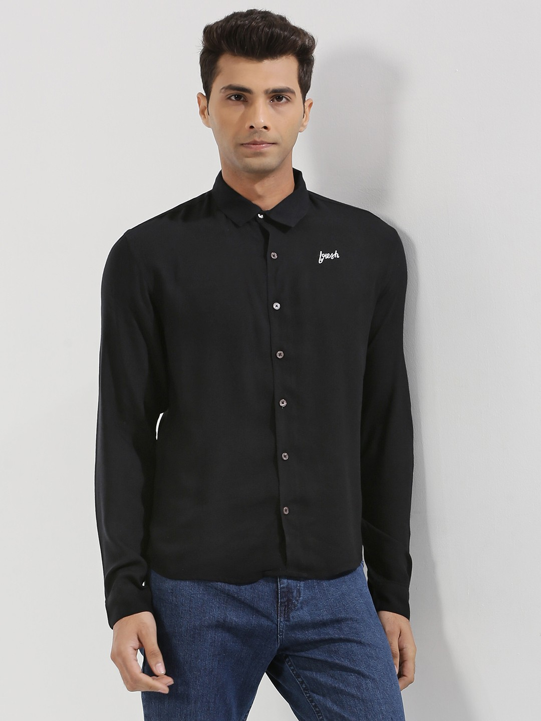 KOOVS Black Text Embroidered Shirt In The Style Of Harry Styles 1